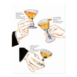 Retro Vintage Kitsch Cocktails 3 Martinis Postcard