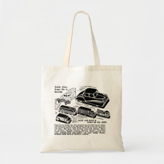 Retro Vintage Kitsch Comic Book Ad Plastic Toy Car Budget Tote Bag
