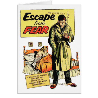 Retro Vintage Kitsch Comic Book Escape From Fear Greeting Card