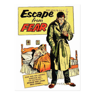 Retro Vintage Kitsch Comic Book Escape From Fear Postcard