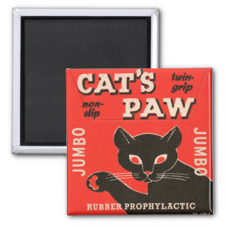 Retro Vintage Kitsch Condom Package Cat's Paw Square Magnet
