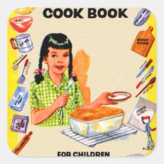 Retro Vintage Kitsch Cookbook for Children Art Square Sticker