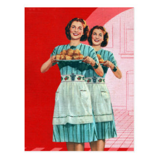 Retro Vintage Kitsch Cooking Kitchen Housewife Postcard