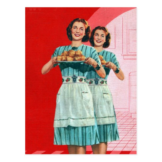 Retro Vintage Kitsch Cooking Kitchen Housewife Postcard