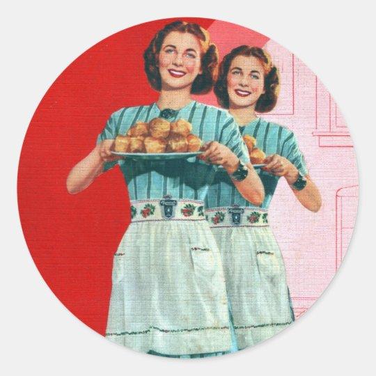 Retro Vintage Kitsch Cooking Kitchen Housewife Round Sticker