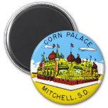 Retro Vintage Kitsch Corn Palace South Dakota 6 Cm Round Magnet
