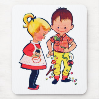 Retro Vintage Kitsch Cute Kids Sugar & Spice Mouse Pad