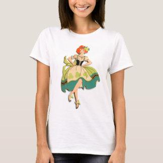 Retro Vintage Kitsch Dancing  Irish Lass Girl T-Shirt