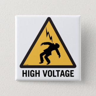 Retro Vintage Kitsch Danger High Voltage Sign 15 Cm Square Badge
