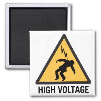 Retro Vintage Kitsch Danger High Voltage Sign Square Magnet
