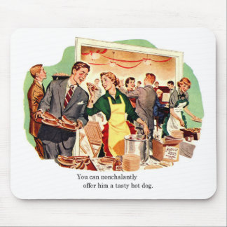Retro Vintage Kitsch Dating 'Offer Him a Hot Dog' Mouse Pad