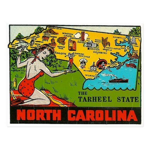 Retro Vintage Kitsch Decal North Carolina Pin Up Postcards