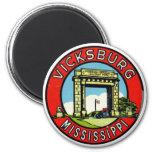 Retro Vintage Kitsch Decal Vicksburg Mississippi 6 Cm Round Magnet