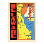 Retro Vintage Kitsch Delaware Diamond State Decal Postcard