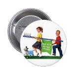 Retro Vintage Kitsch Dentist Kids Giant Toothbrush Buttons