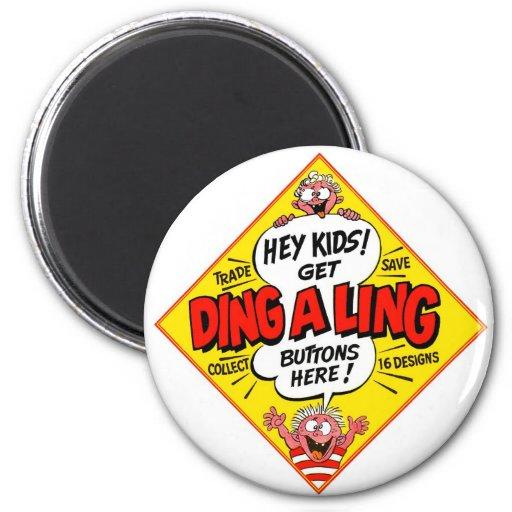 Retro Vintage Kitsch Ding-a-Ling Butons Fridge Magnet