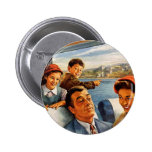 Retro Vintage Kitsch 'Family Train Trip' Pinback Buttons