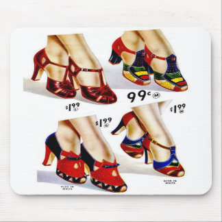 Retro Vintage Kitsch Fashion 40s Women s Shoes Mousepads