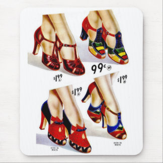 Retro Vintage Kitsch Fashion 40s Women's Shoes Mouse Mat