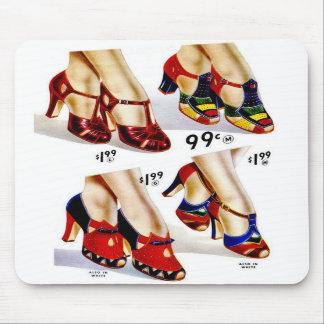 Retro Vintage Kitsch Fashion 40s Women's Shoes Mousepads
