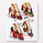 Retro Vintage Kitsch Fashion 40s Women's Shoes Mousepad
