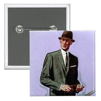 Retro Vintage Kitsch Fashion Men's Suit 15 Cm Square Badge