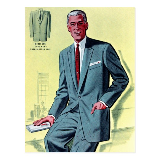 Retro Vintage Kitsch Fashion Men's Suit Postcard