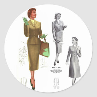 Retro Vintage Kitsch Fashion Women's Wear Classic Round Sticker