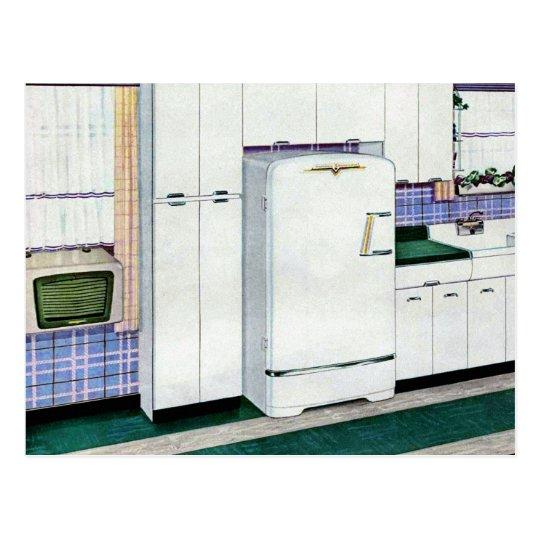 Retro Vintage Kitsch Fifties Kitchen Refridgerator Postcard