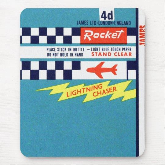 Retro Vintage Kitsch Firework Bottle Rocket Label Mouse Mat