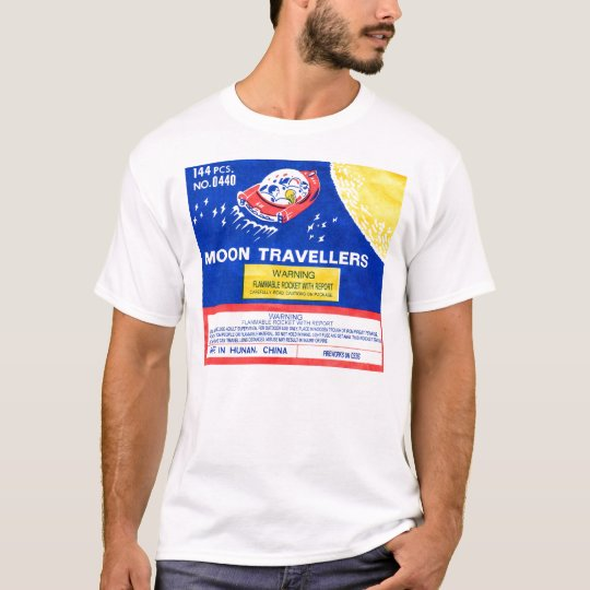 Retro Vintage Kitsch Firework Rocket Moon T-Shirt
