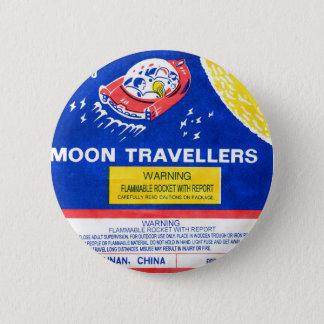 Retro Vintage Kitsch Firework Rocket Moon Traveler 6 Cm Round Badge