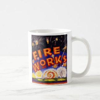 Retro Vintage Kitsch Fireworks Firecracker Sign Basic White Mug