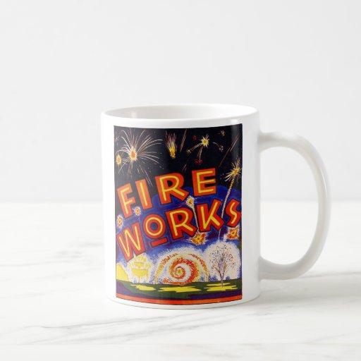 Retro Vintage Kitsch Fireworks Firecracker Sign Mugs