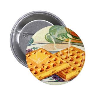 Retro Vintage Kitsch Food 40s Nutty Waffles Art 6 Cm Round Badge