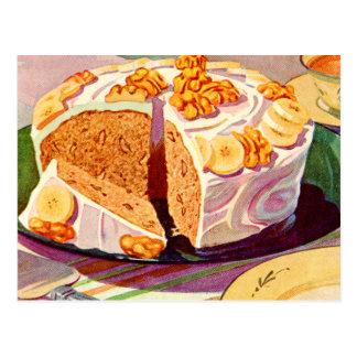 Retro Vintage Kitsch Food Banana Walnut Cake Art Postcard