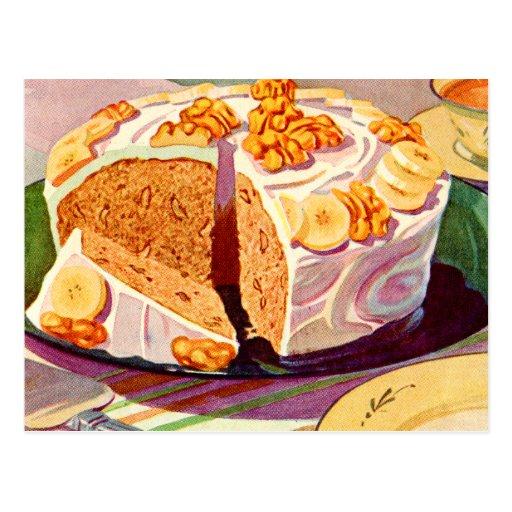 Retro Vintage Kitsch Food Banana Walnut Cake Art Postcards