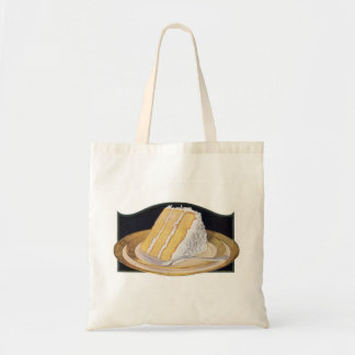 Retro Vintage Kitsch Food Coconut Cream Pie Budget Tote Bag