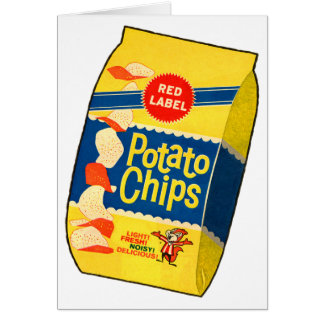Retro Vintage Kitsch Food Crisps Potato Chips Bag Card