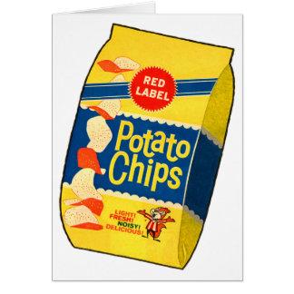 Retro Vintage Kitsch Food Crisps Potato Chips Bag Greeting Card