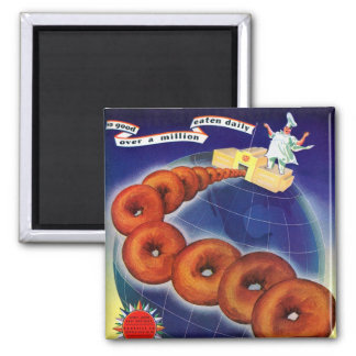 Retro Vintage Kitsch Food Doughnuts Donuts Ad Square Magnet