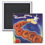 Retro Vintage Kitsch Food Doughnuts Doughnuts Ad Square Magnet