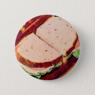 Retro Vintage Kitsch Food Ham on Rye Sandwich 6 Cm Round Badge