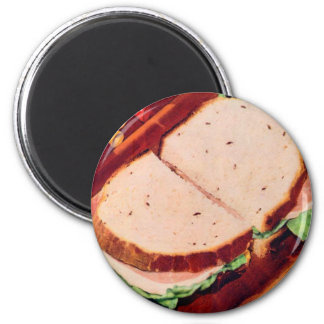 Retro Vintage Kitsch Food Ham on Rye Sandwich Magnet