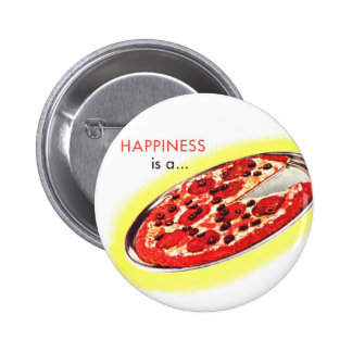 Retro Vintage Kitsch Food Happiness is a Pizza 6 Cm Round Badge