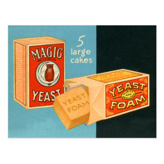 Retro Vintage Kitsch Food Magic Foam Yeast Postcard
