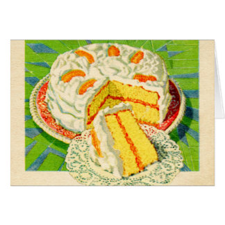 Retro Vintage Kitsch Food Orange Creme Cake Art Card