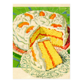 Retro Vintage Kitsch Food Orange Creme Cake Art Postcard