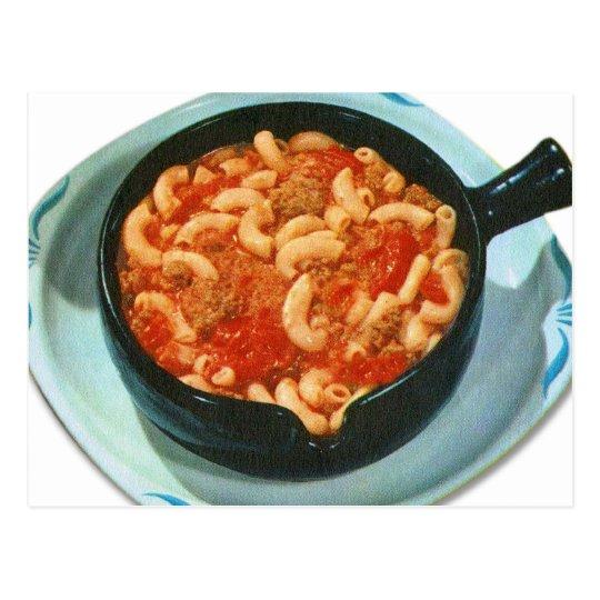 Retro Vintage Kitsch Food Spaghetti Hot Dish Postcard