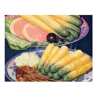 Retro Vintage Kitsch Food White Asparagus Spears Postcard